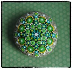 Jewel Drop Mandala Painted Stone- Gorgeous Greens