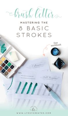 Interested in brush lettering but not sure where to start? This nifty post takes you through the 8 basic strokes — plus free workbook. Click through to read more!
