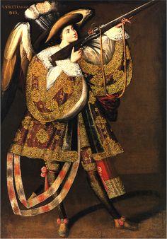 Angel with Arquebus, Asiel Timor Dei. Master of Calamarca (La Paz School). c. 17th century C.E. Oil on canvas.
