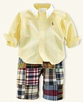 Ralph Lauren Baby Set, Baby Boys Madras Patchwork Pant Set
