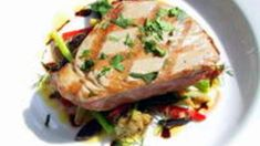 Grilled fillet of yellow fin tuna with green beans, preserved lemon and kalamata olives recipe : SBS Food Sbs Food, Olive Recipes, Preserved Lemons, Kalamata Olives, Fish Dishes, Banquet, Tuna, Preserves, Green Beans