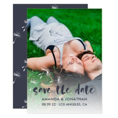 Black-Flame colour Dandelion Wedding Save the Date Card - wedding invitations diy cyo special idea personalize card