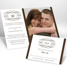 Chocolate Swirl Frame Photo Invitation - Ann's Bridal Bargains