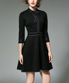 Love this Black & White Contrast Fit & Flare Dress on #zulily! #zulilyfinds