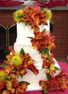 Fall wedding cake with texture icing