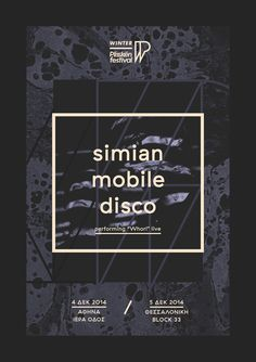 "Winter Plisskën Festival 2014 ""Simian Mobile Disco"" poster by Sébastien Nikolaou www.sebdesign.eu"