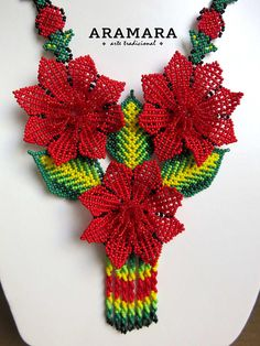 Your place to buy and sell all things handmade Seed Bead Jewelry, Seed Beads, Peyote Patterns, Stitch Patterns, Huichol Art, Mexican Jewelry, Plastic Canvas Christmas, Beaded Bags, Flower Necklace