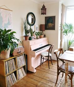 Current Monday situation, until about when Solly gets home from preschool and starts shaking the place down. Pink Piano, White Piano, Piano Living Rooms, Home Living Room, Dining Room, Interior Rugs, Interior Design, Piano Room Decor, Aesthetic Rooms