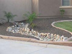 desert landscaping ideas | Arizona desert landscape design with riverbeds, rock, desert plants