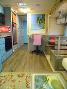 RV redesign to beach bum look. Love the sturdy dinette. Great for setting up my mobile writing desk.