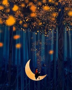 Checkout this beautiful fantasy art by this amazing artist. Art Fantaisiste, Beautiful Moon, Moon Art, Nocturne, Whimsical Art, Imagine Dragons, Stars And Moon, Night Skies, Cute Art