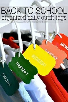 Organize your child's outfits for the week on Sunday night and arrange them in their closet using these DIY labels.