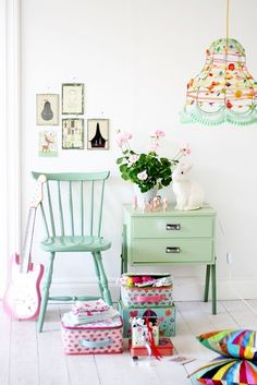 chair, little girls, pastel, mint green, light fixtures, colors, lampshad, kid rooms, little girl rooms