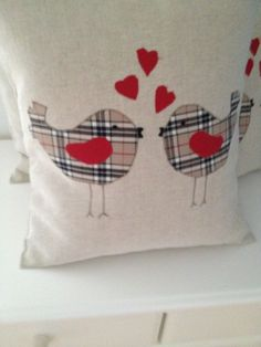 Laura Ashley Natural Austen Cushion Cover with Check Love Birds Applique