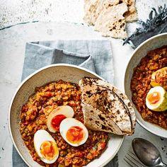 Spiced crispy egg and lentil curry
