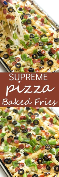 Supreme Pizza Baked Fries Recipe - A super fun twist on plain baked fries! Bursting with mozzarella cheese, mini pepperoni, black olives, and diced green bell peppers! The ultimate loaded comfort food! So easy they can be made in 15 minutes!
