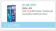 Coupon $1.50 off ONE Oral-B Pulsar Toothbrush http://azfreebies.net/coupon-1-50-off-one-oral-b-pulsar-toothbrush/