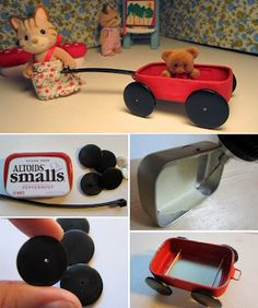 Tiny Wagon Altered Altoids Tin; use the regular size tin to make red wagon for one of the Barbie toddler dolls; smalls tin bottom makes a great roasting pan; make luggage with either size, too!