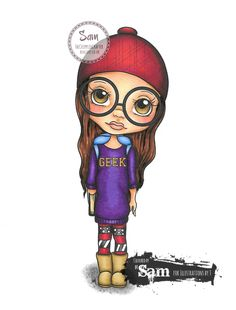 Geek by Illustrations by T.  Coloured by Sam Lewis using Spectrum Noir Markers.  http://thecrippledcrafter.blogspot.co.uk/2016/12/geek-illustrations-by-t.html  #TheCrippledCrafter #IllustrationsByT #LollyDolly #SpectrumNoir #Colouring #DigiStamps