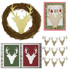 """This deer head die from AccuCut comes in four different sizes for ultimate versatility. Use the large size for A2 cards, ornaments and tags. Use the little jumbo size to create banners, home décor (fits perfectly in an 8"""" x 10"""" frame) or make into a wreath. Use the jumbo size on front of albums or on scrapbook pages or as home décor. Use the giant size as home décor (giant size fits on 11"""" x 17"""" paper).http://www.accucutcraft.com/deer-head.html"""