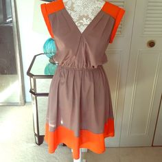 Bar lll bronze and orange dress Size Medium Bar lll bronze and orange dress. Only worn once to a wedding Bar III Dresses