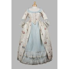 Cream and Blue Brocade Silk Dress , 1770