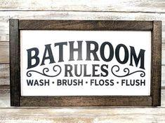 Framed Bathroom Rules Sign / Bathroom Decor / Wood Bathroom Sign / Farmhouse Signs / Farmhouse Decor – Diy Home Decor Wood Bathroom Rules, Wood Bathroom, Bathroom Colors, Bathroom Ideas, Signs For Bathroom, Bathroom Organization, Bathroom Inspiration, Modern Bathroom, Rustic Bathroom Wall Decor