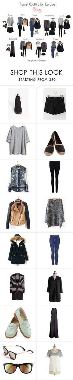 """Travel Outfits Europe Spring"" by travelfashiongirls ❤ liked on Polyvore featuring Dr. Martens, Retrò, Topshop, MANGO, PAM, Bass, Steve Madden, Spring, travel and inspiration"