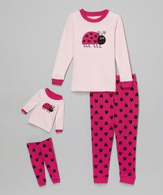 Look what I found on #zulily! Pink Ladybug Pajama Set & Doll Outfit - Kids & Tween #zulilyfinds