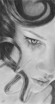 Broken Crying Running Mascara Beauty Original Pencil Portrait Drawing Graphite #Realism