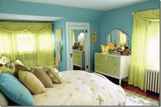 Bright blue and green bedroom.