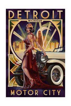 Classic Art Deco vintage Travel car poster Detroit, Michigan - Deco Woman and Car Art Deco Artwork, Art Deco Posters, Car Posters, Retro Posters, Wall Art, Graphisches Design, Art Deco Design, Graphic Design, Pin Up