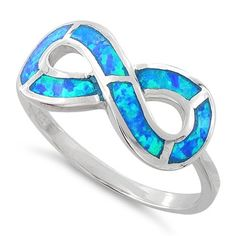 Sterling Silver Blue Lab Opal Infinity Ring
