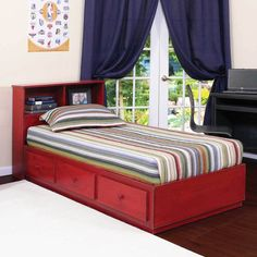 Twin Captains Bed With 3 Drawers On Tracks In Birch