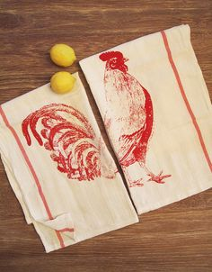 Hey, I found this really awesome Etsy listing at https://www.etsy.com/listing/98966131/set-of-2-urban-rooster-red-stripe