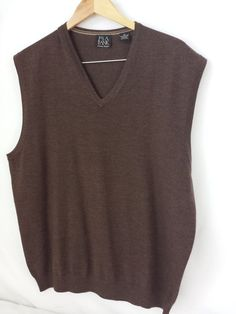 Jos. A. Bank Men's 100% Merino Wool Brown V-Neck Vest Size Extra Large XL  #JosABank #Vest #$19.99