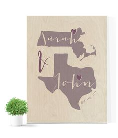 Wood Guest Book for Wedding with 2 states Wood by MDBWeddings