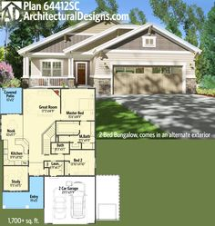 Architectural Designs 2 Bed Bungalow House Plan 64412SC. So good, it comes in two exterior options (you'll have to check out 64410SC for the other). 1,700+ square feet of living. Ready when you are. Where do YOU want to build?