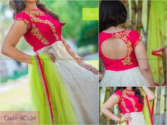 Anarkali back round neck design Long Gown Dress, Frock Dress, Saree Dress, Long Frock, Sari Blouse, Long Dresses, Girls Dresses, Kalamkari Dresses, Ikkat Dresses