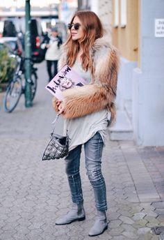 booties. paint-splattered jean. tunic tee. fur coat.