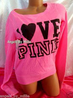 NEW STOCK JUST ADDED! New Victoria's Secret Love Pink M Neon Campus Heart Signature Crew sweat Shirt   eBay