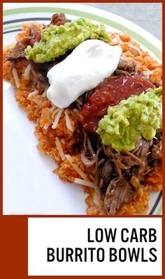 """Low Carb burrito bowls - This was amazingly delicious! Love it so much, tastes just like Spanish rice. One of the greatest ideas ever, whoever came up with this """"replacing rice with cauliflower"""" thing. :) (Picture by me, linked to original recipe) Ketogenic Recipes, Paleo Recipes, Mexican Food Recipes, Low Carb Recipes, Cooking Recipes, Ketogenic Diet, Paleo Diet, Low Carb Mexican Food, Diet Foods"""