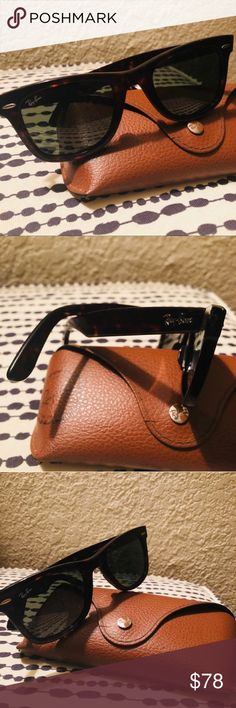Ray-Ban Wayfarer tortoise sunglasses Ray Ban Wayfarer sunglasses. Worn maybe 3 times. The case is a little cracked shown in pics. Reasonable offers welcome. Ray-Ban Accessories Glasses