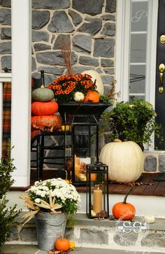 Fall on the front porch - stone gable