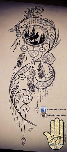 Beautiful tattoo idea design for a thigh, dream catcher tattoo, wolf tattoo ideas. By dzeraldas jerry kudrevicius from Atlantic Coast tattoo. Pretty detail mandala style, lace tattoo design #WolfTattooIdeas