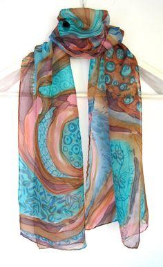 Hand painted silk scarf teal brown - Small art silk scarf - Abstract silk painting - Womens neckerchief batik - Neck silk chiffon scarves