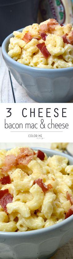 three cheese bacon mac and cheese
