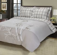 Amazon.com - Impressions 100% Cotton, 3-Piece King/California King, Single Ply, Soft, Embroidered Elmwood Duvet Cover Set -