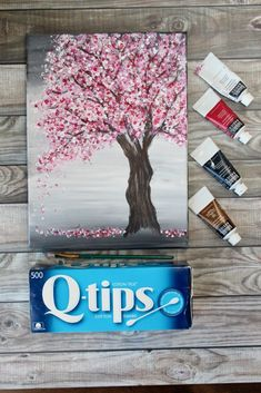 Painting a Cherry Blossom Tree with Acrylics and Cotton Swabs! - - Looking for an EASY cherry blossom tree painting tutorial? Use a canvas, acrylics & Q-Tips to make this simple step-by-step cherry blossom tree painting. Simple Canvas Paintings, Easy Canvas Art, Small Canvas Art, Easy Canvas Painting, Mini Canvas Art, Cute Paintings, Diy Painting, Cotton Painting, Trippy Painting
