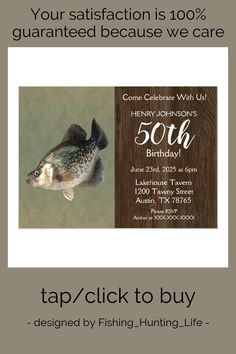 Crappie Fishing Theme 50th Birthday Party Invitation #bass #fishing #fisherman #fishing #hunting #Invitation